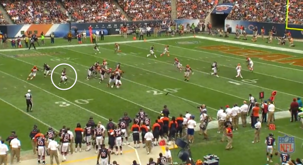 Jay Cutler plants his back foot - Screen Shot Courtesy of NFL.com Gamepass