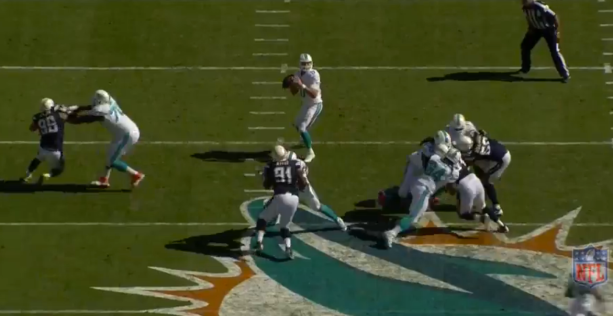 Tannehill then looks left and his feet follow - Screen Shot Courtesy of NFL.com